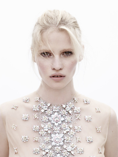 Lara Stone stuns for the May issue of Dutch Vogue magazine, lensed by Josh Olins with styling by Gillian Wilkins.