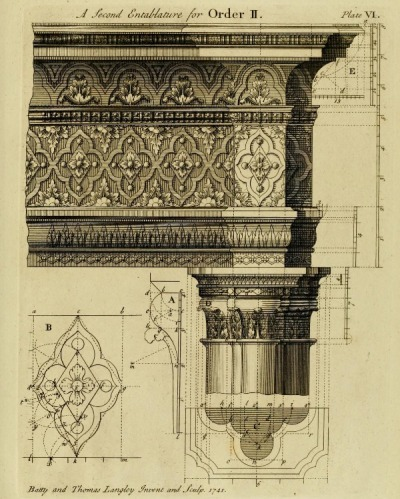 booksnbuildings:  A Gothic pillar and entabulature. In this early treatise and design-book on Gothic architecture - dating from already 1742, when classicism was still very firmly rooted in Western architecture - Gothic architecture is treated not as a living, highly artisan form of architecture, but just like classicism as a formalised and theoretically thought-through way of building. The effect is endearing and rather strange. You can read the whole book and see the other strange plates here.