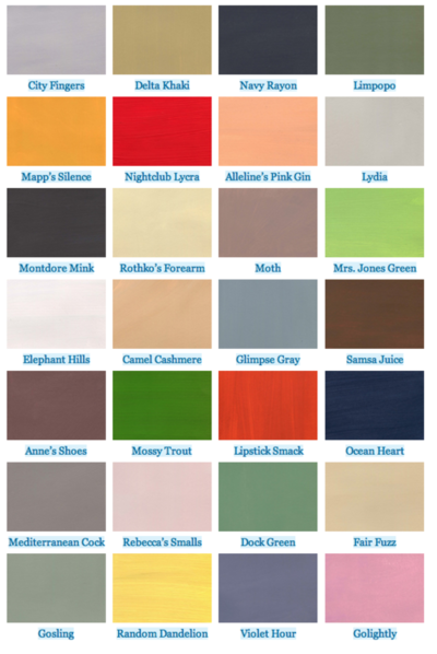 literary paint chips. Paint samples sourced from colors in literature.