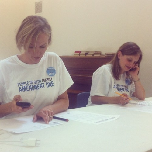 People of Faith fight #Amendment1 one call at a time on #protectNCsunday. #ncpol #voteagainst (Taken with Instagram at Amity UMC)