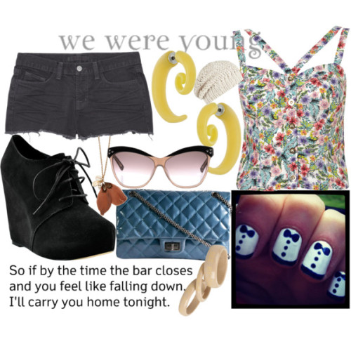 Tonight, We Are Young by emsaxx featuring crop topsCrop top, $52Denim shorts, $160Chelsea Crew platform booties, $79Chanel shoulder bagSee by Chloe heart jewelry, $55Plastic earrings, $18Mango collar necklace, £15AllSaints beanie hat, $55
