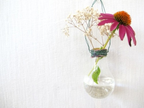 labeltz:  old light bulb re-purposed as a mini vase