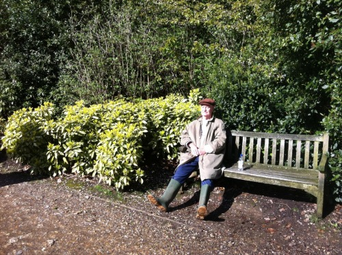 Hampstead Heath . Englishman . Wellies According to JB, it's Spooner off Pinter's No Man's Land, actually. (Enjoying the sun after days of heavy rain.)