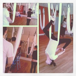 Just another Sunday morning with the boy. #yoga #antigravityyoga #ilovesundays (Taken with instagram)