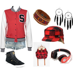 ^^ by shilky featuring new era hatsStussy college letterman jacket, $100H&M denim shorts, £15DC Shoes suede shoes, £80BDG flannel bag, $20Natalia Brilli earrings, $395Friendship bracelet, $14Ear flap hat, $40