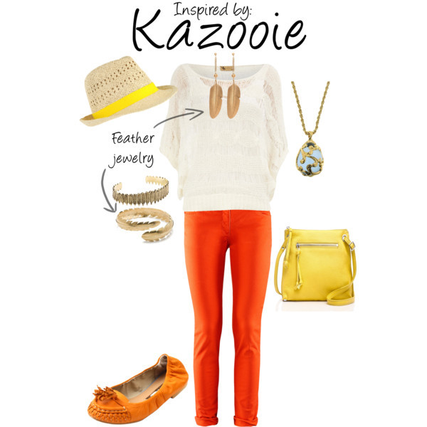 Kazooie (Banjo Kazooie) by ladysnip3r featuring feather earrings This outfit is inspired by the fiesty, sassy Kazooie of Banjo Kazooie. I chose to use her colors of red, orange ,and yellow in this outfit. I also chose feather and egg accessories to mimic the items in the game associated with Kazooie. (Reference Image)