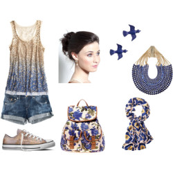 ^^ by shilky featuring denim shortsSequin shirt, $325H&M denim shorts, £15Converse lace up shoes, $40ALDO backpack bag, $73Rosantica beaded jewelry, £490J Crew enamel jewelry, $25Toast tie dye scarve, £75Pearl hair accessory, £14