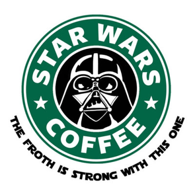 """Star Wars Coffee"" by Royal Bros Art. The morning ritual is pretty tough for a semi-robotical Sith Lord.