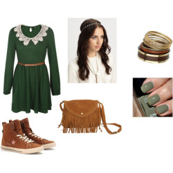 ^^ by shilky featuring wood jewelryGreen lace dress, $63Converse round toe shoes, $95Wet Seal crossbody bag, $23Miss Selfridge wood jewelry, $16Jennifer Behr crystal hair accessory, $155