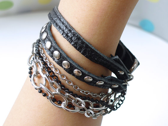 Chic Black Leather Bracelet With Rivets and Chains-Spring on @LoLoBu - http://lolobu.com/o/1829/