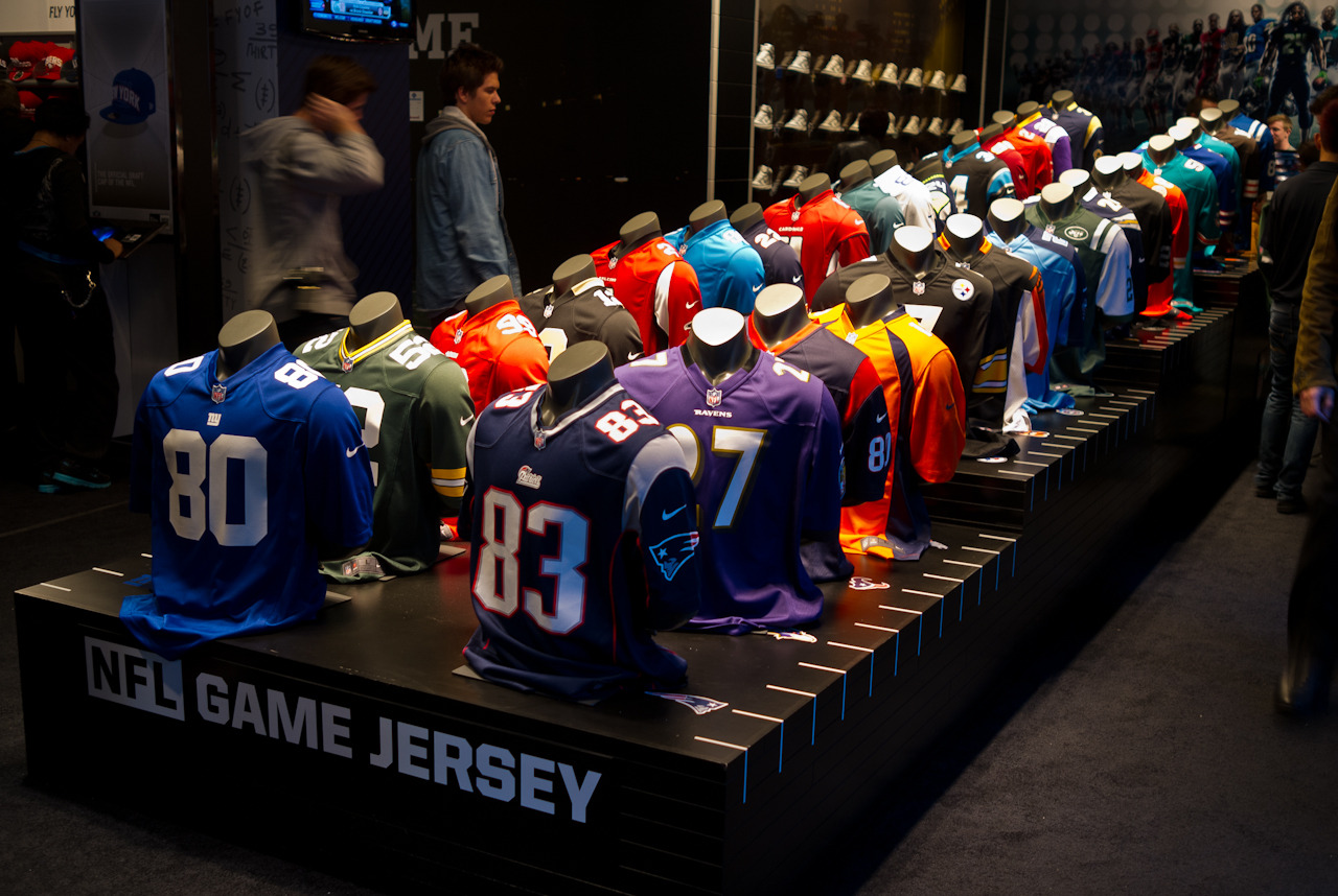 Retail Gridiron Nike's new NFL jerseys on display at the NFL Shop at Draft in Midtown.