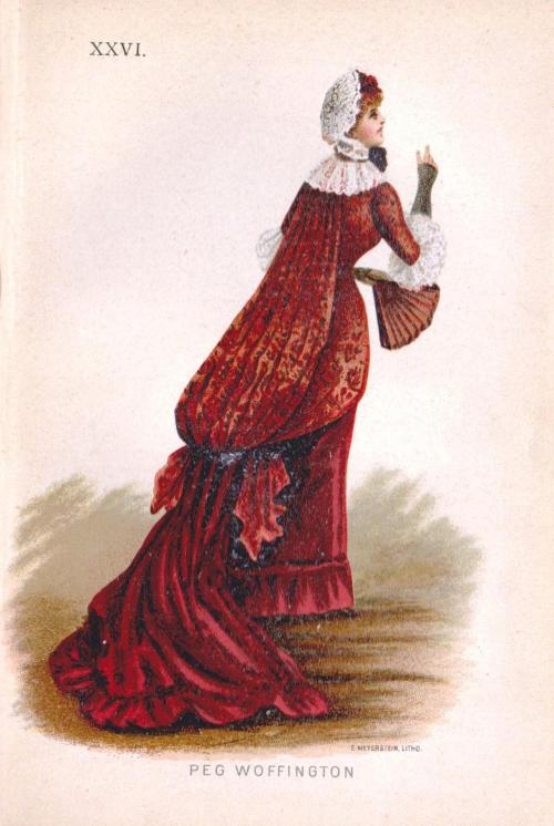 From Fancy Dresses Described or What to Wear at Fancy Balls by Ardern Holt, 1882: Costume representing the Georgian Era actress, Peg Woofington.