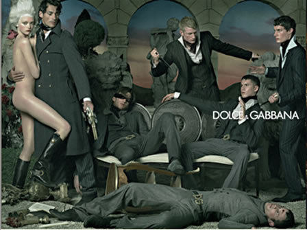nobilior:  D&G's iconic ad campaign: fashion inspired by tradition  In 2006 Dolce & Gabbana made headlines with their winter advert. A Greco-Roman style set, models wearing 18th century Dangerous Liaisons-style clothes and hair, guns, knives and a little nudity.