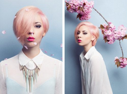 Diptych of my pink hair