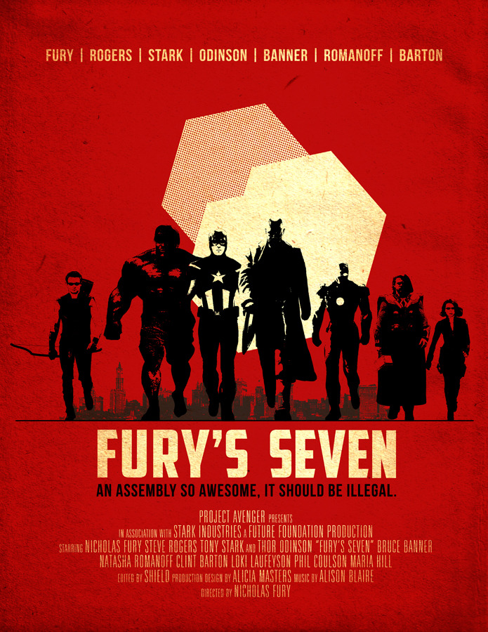 This is an alternative poster concept for The Avengers movie, called Fury's Seven, created by Timothy Lin. Pretty cool. [Via Robot 6]