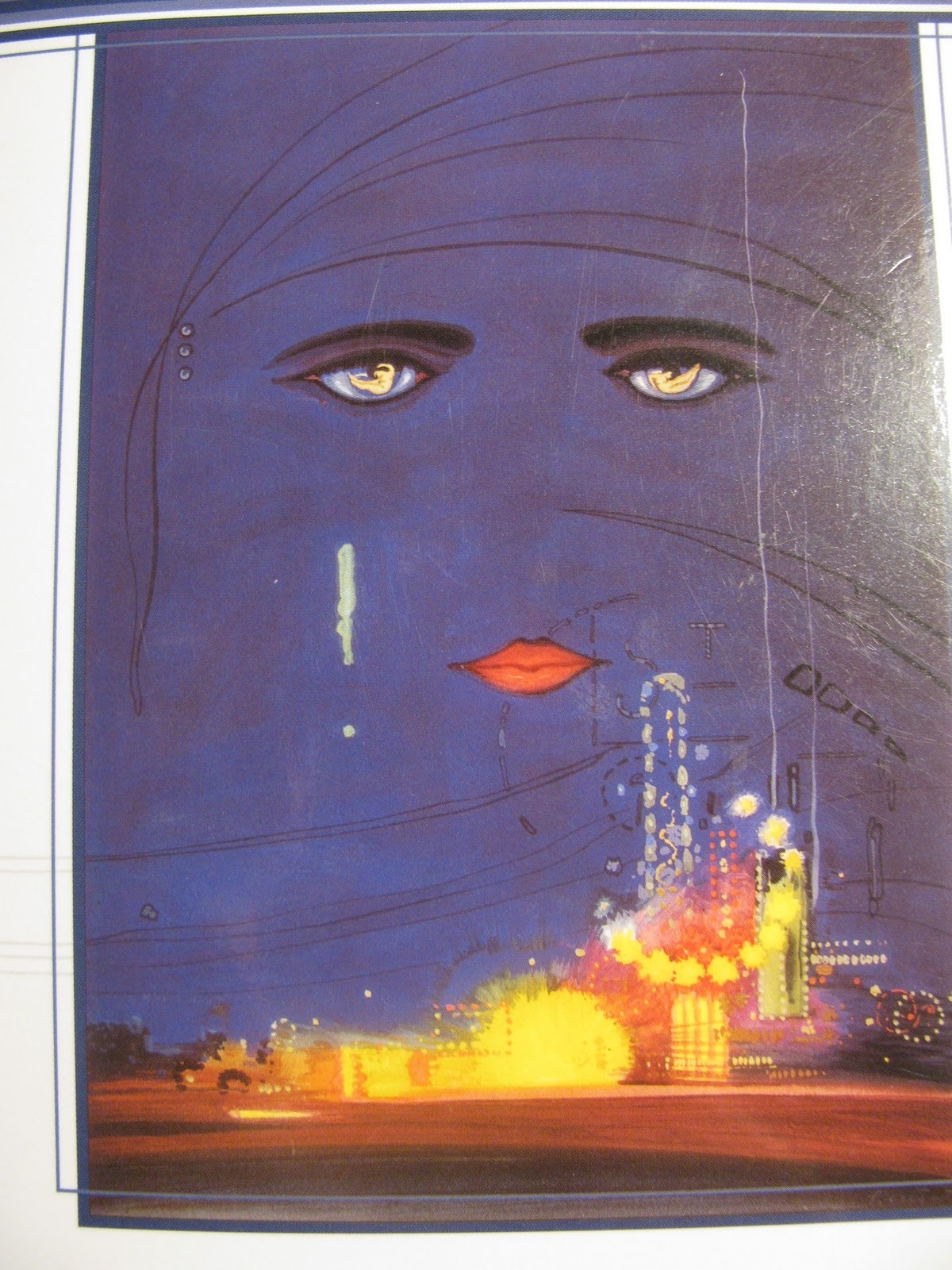 "Artwork for The Great Gatsby, F. Scott Fitzgerald, 1925, by Francis Cugat. The painting is titled Celestial Eyes and Fitzgerald was aware of Cugat's progress with the dust jacket design while he was still writing the book. He was so impressed and inspired by it that he commented to his editor at Scribner's, the great Maxwell Perkins: ""For Christ's sake don't give anyone that jacket you're saving for me. I've written it into the book"" (Fitzgerald: A Life in Letters, p. 79)."