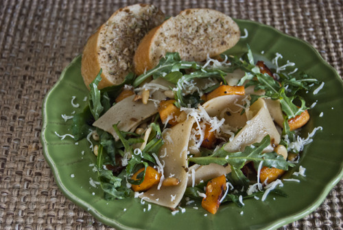 Pappardelle with Roasted Winter Squash, Arugula, and Pine Nuts (and Garlic Bread) Source: @Cooking_Light and @Cooking_Light Fresh Food Fast Weeknight Meals