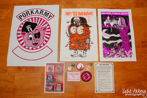 porkmagazine:  katieaaberg:  PORK ARMY FULL KIT on Flickr.  This is what you get with your PORK ARMY membership kit! two-color silkscreened canvas back patch2 limited edition two-color silkscreened postersthree exclusive PORK ARMY buttonsexclusive PORK ARMY embroidered patchPORK iron cross pendantmembership cardPORK oath ENLIST HERE   SO THE FIRST BATCH OF PORK ARMY PACKAGES WENT OUT. LOOK AT THIS. THIS IS AMAZING. KATIE LISTS WHAT'S IN IT, BUT MAN, LOOK AT ALL THAT COOL CRAP. I'M SO STOKED THAT WE DID THIS. GITTIT.