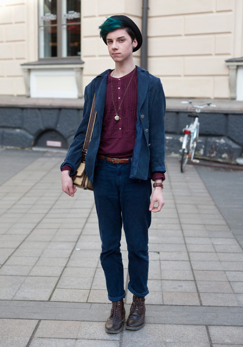 "Mikko, 17  ""I'm wearing H&M trousers with second hand. My friends say I always wear bright colours. Lookbook.nu inspires me. My must-have this spring: my father's old camo jacket which I just found.""  25 April 2012, Ylioppilasaukio   (via Mikko - Hel Looks - Street Style from Helsinki)"