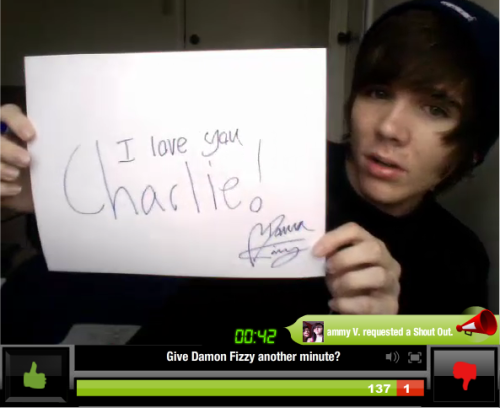 Charlie's sign from the YouNow :)