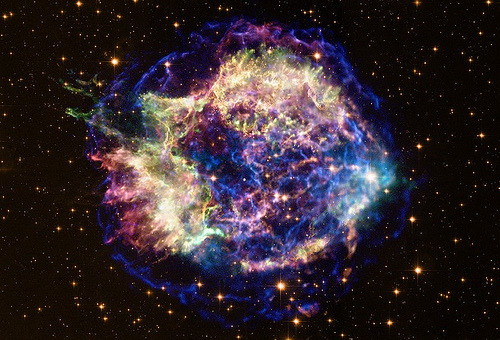 ruineshumaines:  Supernova Remnant Cassiopeia A (NASA, Chandra, Hubble, 02/23/11) | NASA's Marshall Space Flight Center