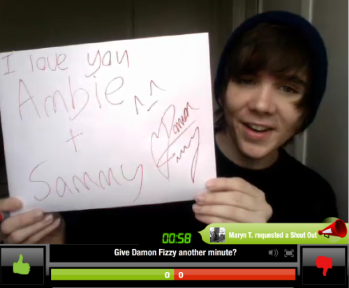 Ambie and Sammy's sign from the YouNow :)