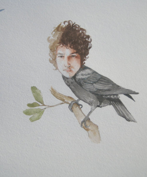 fuckyeahbobdylan:  Bob Dylan as a crow…. Someone please go buy this (and send it my way)