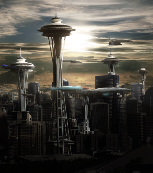 unknownskywalker:  space city by Gianluigi Di Giacomo    Seattle? Is that you?