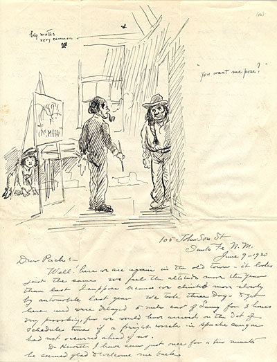 John Sloan letter to critic, artist Walter Pach, 1920.  Sloan writes of his work and his stay in Santa Fe, N.M.   Archives of American Art