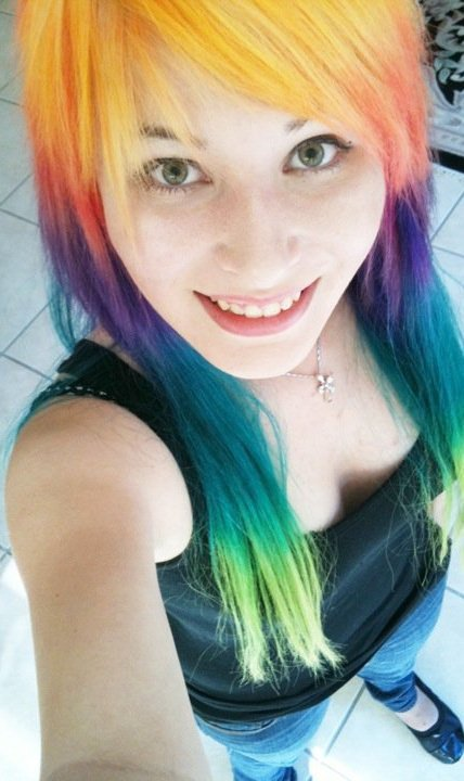 layato:  I don't think this older picture of my rainbow hair has been posted on here yet =P so for the lolz= my hair from 1 year ago.