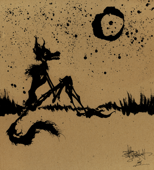 asheissketchy:  I Wish I Was The Moon. 12″x12″. Calligraphy ink on recycled cardboard. ©2008, Ashe Wednesday.
