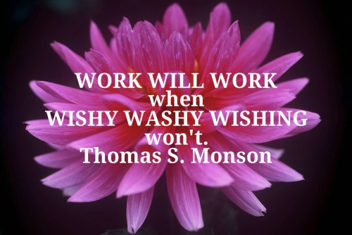 """Work will work when wishy washy wishing won't."" ― Thomas S. Monson"