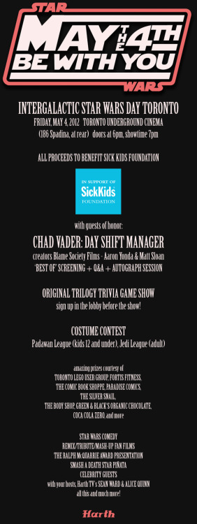 Want to see your growing prize pool of stuff to win at Star Wars Day Toronto? Click here. Want to buy advance tickets?  Click here.