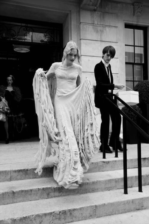 highheeledbanshee:  Gareth Pugh custom wedding dress only for Katie Shillingford