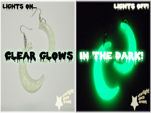 New Cutie Crescent earrings now up! Clear glows in the dark!