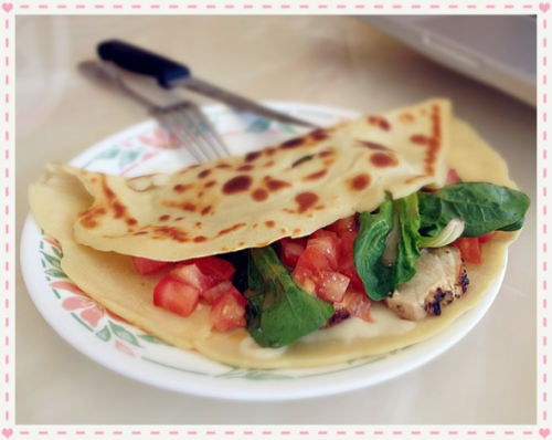 Homemade crepes for lunch ♪( ´▽`)