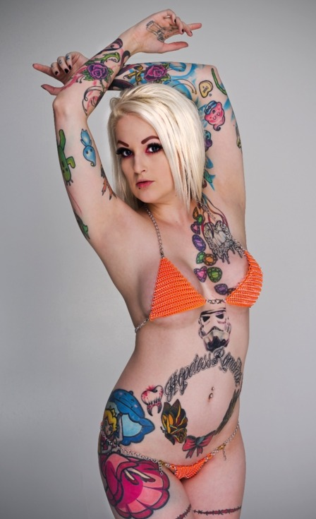 starwarsgonewild:  Star Wars / Stormtrooper tattoo Models: Lizzi Valentine (Facebook) - (Model Mayhem)One of the coolest bikinis I've ever seen! Bikini by Bad Habits ChainmaillePhoto: Wayne Henry for Warped Photography (Model Mayhem)Hair & Make-Up: Lizzi ValentineLocation: Pop Studios, West Leederville