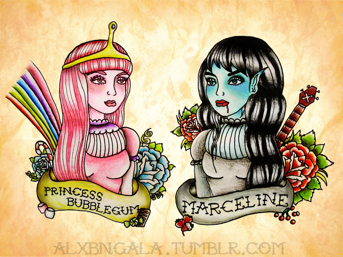 alxbngala:  Princess Bubblegum and Marceline. by:Alejandra L Manriquez.
