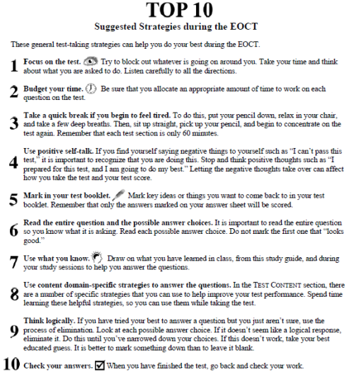 The EOCT Top 10 best practices!