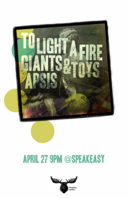 To Light A Fire, Giants and Toys, and Apsis at Speakeasy, Birmingham, AL. presented by Stompbox Medium