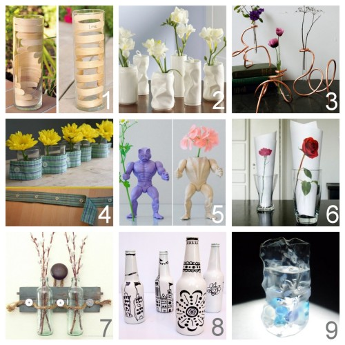 "Love these DIY vases!  truebluemeandyou:  Vases Boring? Not These! Roundup of Nine Unique Vase Tutorials I've Posted - in part because I posted the Popsicle Vase tutorial from The Cheese Thief back in December of 2011 (because I thought it was cool back then) and saw it on Dollar Store Crafts yesterday. It's #1 on my vase roundup, but #9 is my absolute favorite: DIY How to Bend Popsicle Sticks for Wooden Helix or Vertebrae Vase (The Cheese Thief) here. DIY Inspiration Structural Vases or as I like to DIY: spray paint crumpled soda cans after weighting them down with pebbles (grandin road store) here.  DIY Modern Copper Coil Vases Using Hardware Store Supplies (Design Sponge) here. DIY Button-Down Vase (Family Chic) here. DIY Inspiration ""Power Flower"". Easy DIY: paint plastic toys and decapitate if necessary (Open Studio) here. *My growing list tutorials altering plastic toys is here. DIY Inspiration. ""Fresh Flowers"" Why not print out my favorite flowers and put them in a vase or glass? (James) here. DIY Wall Mounted Bottle Vases (Remadesimple) here. DIY White Painted Bottles Decorated with Sharpies here. DIY Fake Ice Sculpture Vase from a Recycled Plastic Bottle (Wikihow) here."