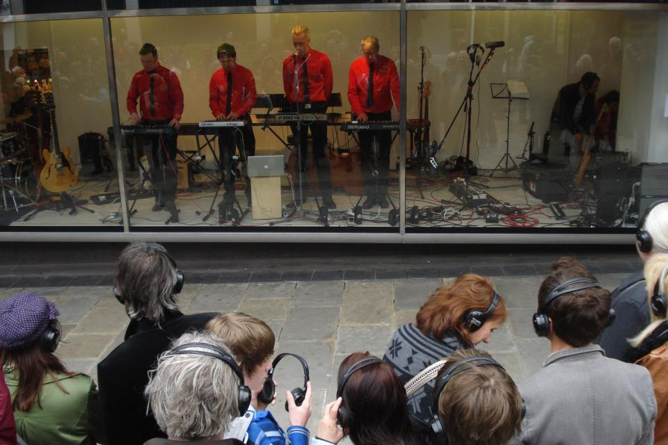 Kraftwerk Celebration - Headphone gig in the Debenhams shop window at Sheffield's Sensoria Festival. Somehow I'm always away during Sensoria but it looks like it's getting bigger and better every year. Photo courtesy of Andi Stamp.