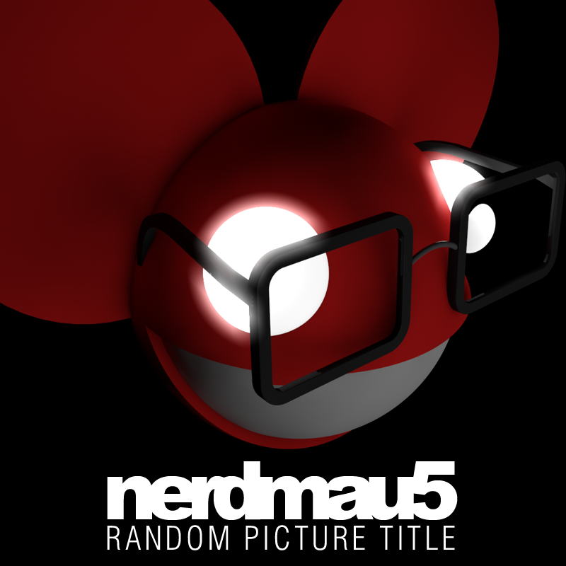 "Nerdmau5! :3 Made this little thing in a laavly 3D program with some lights and funky stuff. The idea came from watching Joel (Deadmau5) geeking out on one of his live streams, thought it was quite funny. Clearly though the best skill this mau5 has is making glasses fit… awkwardly. Styled on his first ever album, ""Random Album Title"" appropriately named no?  And by comparison mine's not the worst work ever… right? o.o"
