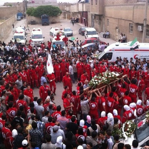 hajjee:  Ambulance worker killed in Syria by the Syrian regime for helping the wounded #syria #doma (Taken with instagram)