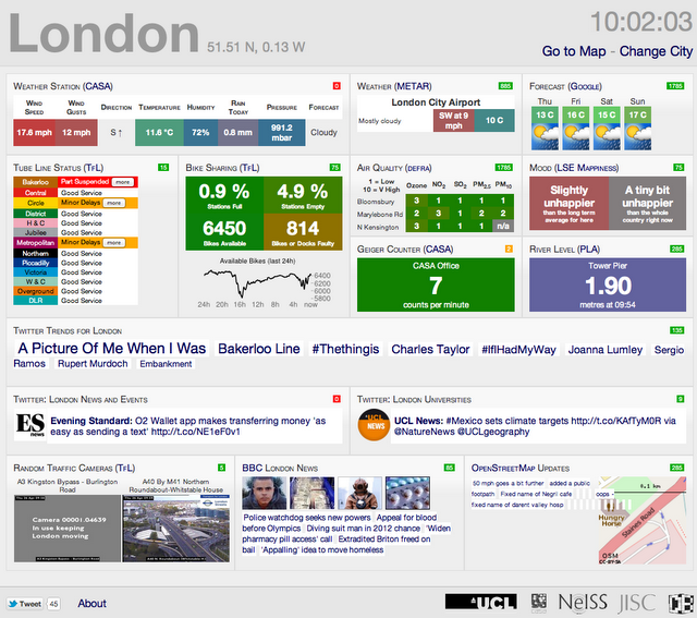 Introducing Citydashboard.org: A Live View of City Data  Here at the Centre for Advanced Spatial Analysis, University College London, we have just made live our latest in a series of services examining live data feeds - CityDashBoard. The system pulls in data from a variety feeds, developing our view that the next trend in OpenData is towards a live view of the city and live data feeds.