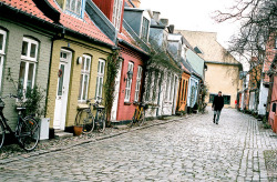 | ♕ |  Old town alley - Aarhus, Denmark  | by © Peter Gutierrez | via ysvoice