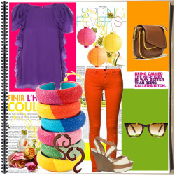 Color Blocking by jekz featuring polka dot sandals