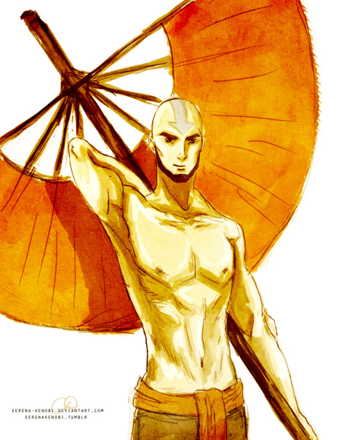 stayflaminsifuhotman:  serenakenobi:  Grown-up Aang. In his mid-to-late twenties. I don't usually draw guys, so this is practice.  Sweet baby Jesus!
