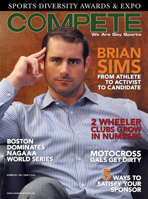 competenetwork: Brian Sims, on the cover of our October, 2011 issue. Former College Football star, and now Pennsylvania's first out lawmaker! Congratulations, Brian!  See more about this awesome dude at: Compete Magazine - We Are Gay Sports