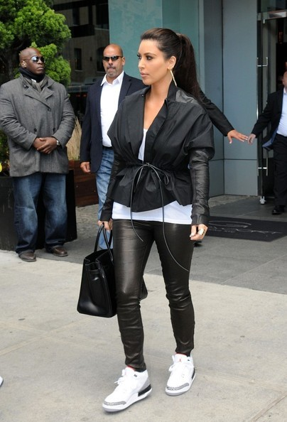 cadencebeats:  Kim Kardashian rocking classic White Cement Jordan 3s.  Yeezy taught you well.